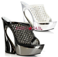 620-FIONA, 6 Inch Curvacious High Heel with 1.75 Inch Platform Pump with Rhinestones Made by ELLIE Shoes