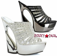 620-LUCY, 6 Inch Curvaceous High Heel with 1.75 Inch Platform with Rhinestones Made by ELLIE Shoes