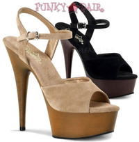 Delight-609FW, 6 Inch High Heel with 1.75 Inch Platfrom Suede Ankle Strap Faux Wood Bottom Sandal