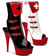 Nurse-110, 6 Inch High Heel with 1.75 Inch Platform Nurse Peep Toe Boots