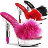 Rouge-601F, 5.5 Inch High Heel with 1.5 Inch Platform Slide Lipstick Heel Marabou