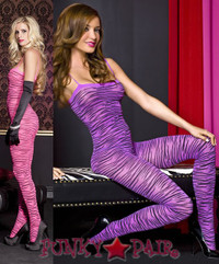 Zebra Print Body Stocking * ML-1467