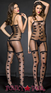 Sheer Big Polkadot Bodystocking * ML-1246