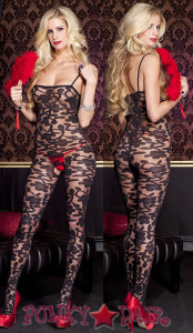 Sheer Floral Bodystocking * ML-1066