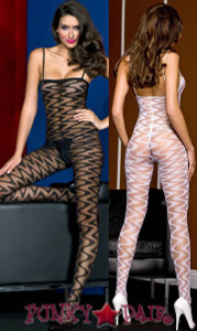Sheer zig-zag designed bodystocking * ML-1138