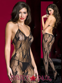Lace Halter Cut Out Bodystocking * ML-1472