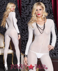 Lurex V-neck Bodystocking * ML-1742