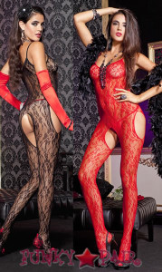 Floral Lace Suspender Bodystocking * ML-1314