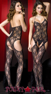 Lace Halter Suspender Bodystocking * ML-1343
