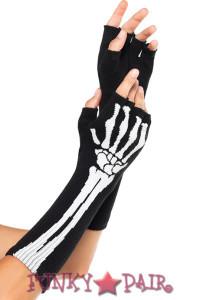 2144, Woven Skelton Fingerless Gloves