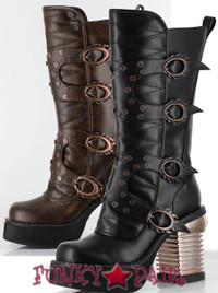 Harajuki, 3.5 Inch High Heel Steampunk Captain Boots