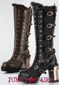 Langdon, 3.5 Inch Steam Engine Chunky Heel Knee High Boots
