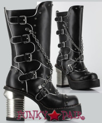 Motorhead, 3.5 Inch chunky High Heel Steampunk Boots with Chain