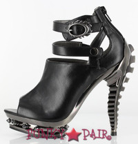 Rogue, 5 Inch High Heel Peep Toe Steampunk Booties