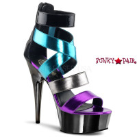 Delight-678-9, 6 inch high heel with 1.75 inch platform Color-Block Sandal