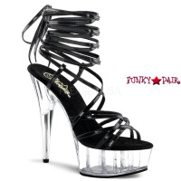 Delight-697, 6 Inch High Heel with 1.75 Inch Platform Strappy Wrap Around Ankle Strap Sandal