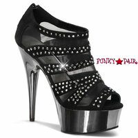 Delight-600-8, 6 inch stiletto heel with 1.75 inch Platform Peep Toe Mesh Bootie