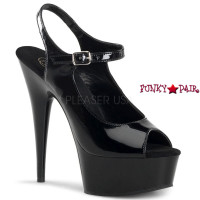 Delight-621, 6 Inch High Heel with 1.75 Inch Platform Peep Toe Ankle Strap Sandal