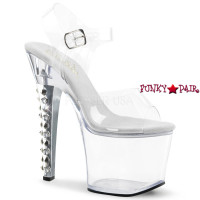 Fearless-708, Clear Ankle Strap Platform Sandal with Spikes and Stones