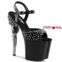 Bondgirl-709SP,  7.5 inch high heel with 3.5 inch platform Gun Heel with Spikes Sandal