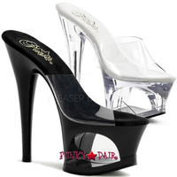 Moon-701, 7 inch high heel with 2.75 inch platform Slide with Cut Out
