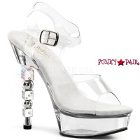 Dice-608, 5.5 Inch High Heel with 1.5 Inch Platform Ankle Strap with Dice Heel Sandal