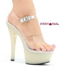 601-Brook-Y, 6 Inch High Heel with 1.75 Inch Platform Dancer Heel Glow in the Dark Made by ELLIE Shoes