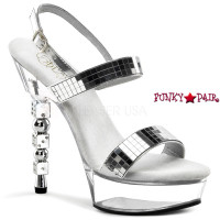 Dice-617, 5.5 Inch High Heel with 1.5 Inch Platform Mirror Stap  Sandal with Dice