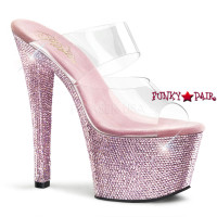 Bejeweled-702DM, 7 inch high heel with 2.75 inch platform Double Strap Sandal  with Rhinestones on Platform and Heel