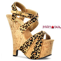 Beau-615, 6.5 inch wedge with 2.5 inch platform Leopard Print Wedge with Criss Cross Strap