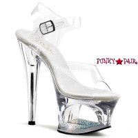 Moon-708DM, 7 Inch High Heel with 2.75 Inch Platform Clear Ankle Strap Chrome Cutout