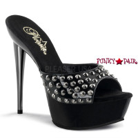 Impulse-501SP, 5.5 inch high heel with 1.5 inch platform Pewter Chrome with Vamp Studds Slide