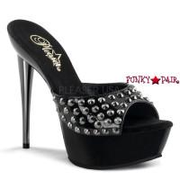 Impulse-501SP, 5.5 inch high heel with 1.5 inch platform Pewter Chrome with Vamp Studds Slide