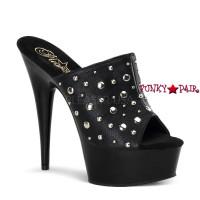 Delight-601-11, 6 inch high heel with 1.75 inch platform Medal Studds Vamp Sandal