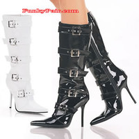 Milan-2015, Pointed Toe Knee High Boot with Buckles * Made by PLEASER Shoes