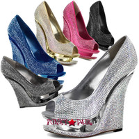 Razzle-660RS * 5.5 Inch High Heel with 1.5 Inch Platform Wedge Rhinestones Cover Peep Toe Pump