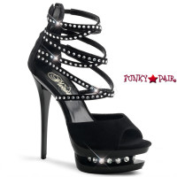 Blondie-R-630, 6 inch high heel with 1.5 inch dual platform Strappy Ankle Strap Rhinestones Sandal