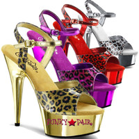 Delight-609CP * Chrome Platform with Cheetah Print Ankle Strap Sandal