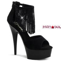 Delight-670-8,  6 inch high heel with 1.75 inch platform Fringe on Ankle Strap Sandal