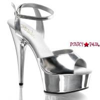 Delight-672CH, 6 inch stiletto heel with 1.75 inch platform Wrap Around Chrome Sandal