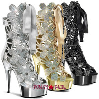 Delight-600-36,6 inch high heel with 1.75 inch platform Floral Cut-out Mid Calf Boot with Rhinestones