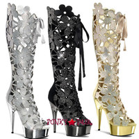 Delight-600-46, 6 inch high heel with 1.75 inch platform Floral Cut-out Knee High Boot