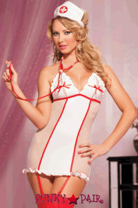 Lingerie Costume: three piece nurse set includes chemise, het and thong (stethoscope not included) fishnet and microfiber chemise with split triangle cups, contrast princess seams, ribbon ties and halter straps, ruffle details, removable garters, nurse hat Tnd thong