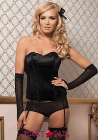 Flocked dot mesh and stretch satin bustier, plunging sweetheart panel at center front, keyhole back with button closure, and thong