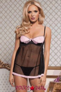 <p>Satin and tulle babydoll with underwire 1/4 cup bra and eyelash lace overlay sling, satin bow detail, hook and eye closure, and thong</p>