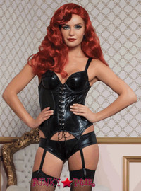 Lame bustier with padded demi cups with lapels, adjustable lame straps, curvy channeling, side boning, grommet lace-up front, hook and eye back closure, curved hem, removable garters and boyshort