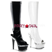 Illusion-2019, 6.5 inch textured heel and 2.5 inch textured platform boot with peep toe * Made by PLEASER Shoes