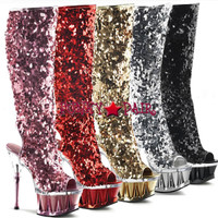 Spiky-2019, 6.5 inch high heel with 2.75 inch platform open toe and back sequin knee high boots featuring shark teeth spikes full inner side zipper * Made by PLEASER Shoes