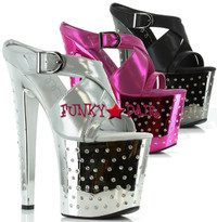 821-Sandra, 8 Inch high heel with 3.75 Inch Platform with rhinestones on platform Made By ELLIE Shoes