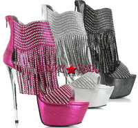 607-Venus, 6 inch stiletto heel with1.75 Inch Platform rhinestones fringe Made by ELLIE Shoes